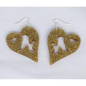 Orecchini plexiglass oro glitter cuore con poodle