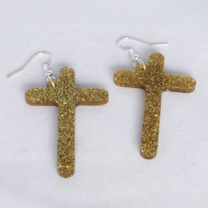 Orecchini plexiglass oro glitter
