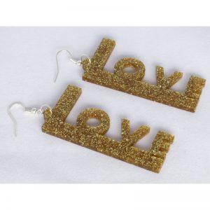 Orecchini LOVE in plexiglass oro glitter
