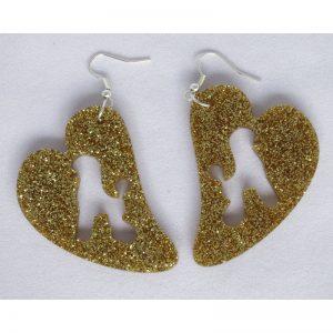 Orecchini Poodle con cuore plexiglass oro glitter